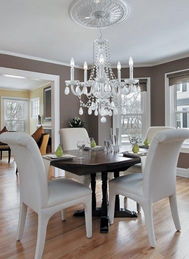 Contemporary Dining Room Chandelier Magnificent Modern Crystal Dining Room Chandeliers With White Chairs Inspiration Design
