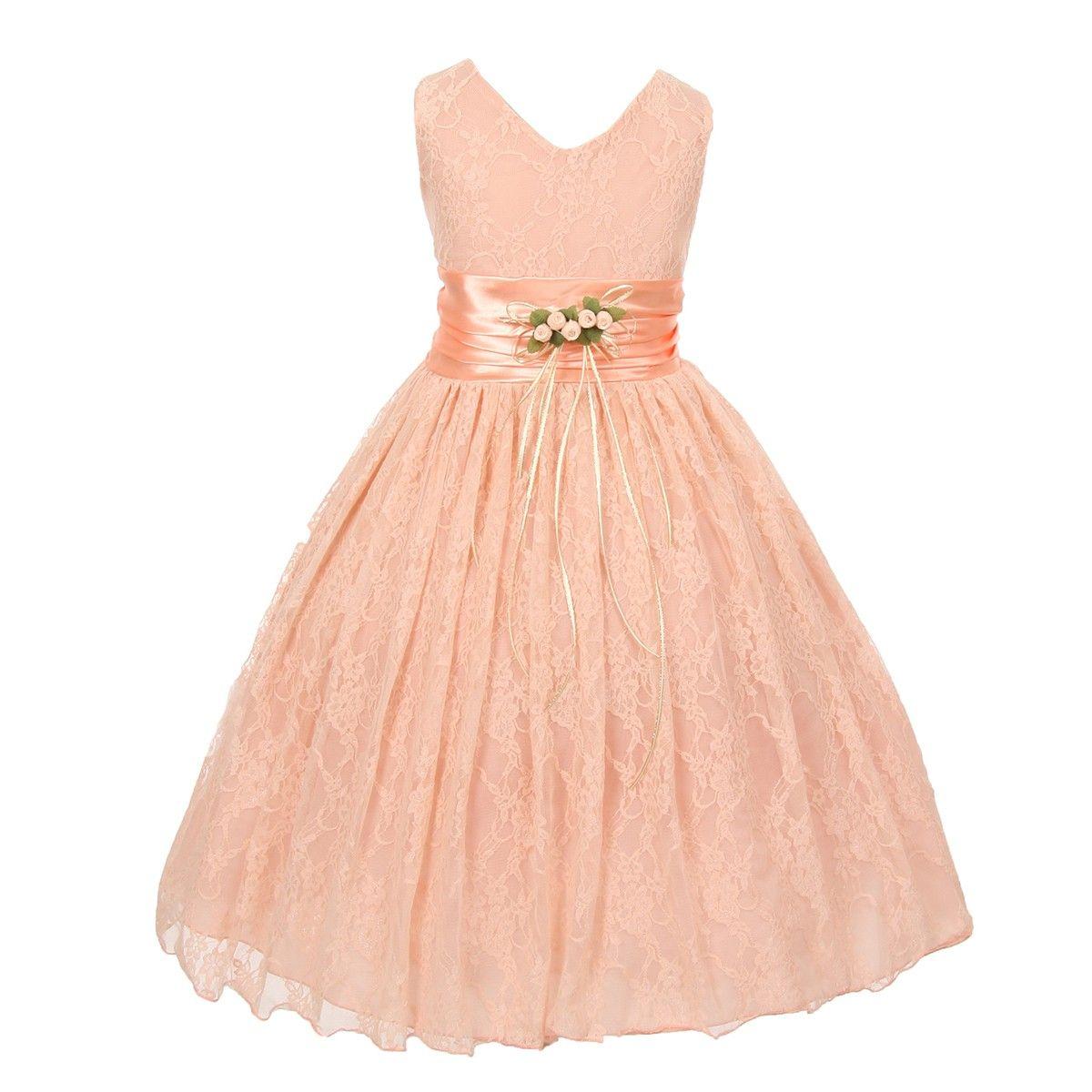 Flower Girls Peach Party Occasion Wear Dress