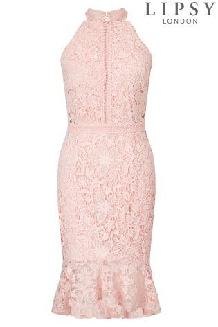 Buy Lipsy Floral Lace High Neck Bodycon Dress from the Next UK ...