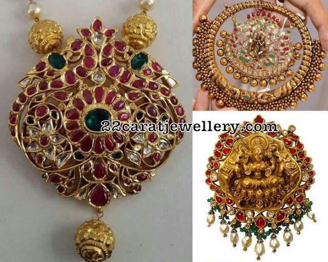 Temple pendants with pota rubies pendants indian jewelry and gold temple pendants with pota rubies mozeypictures Choice Image
