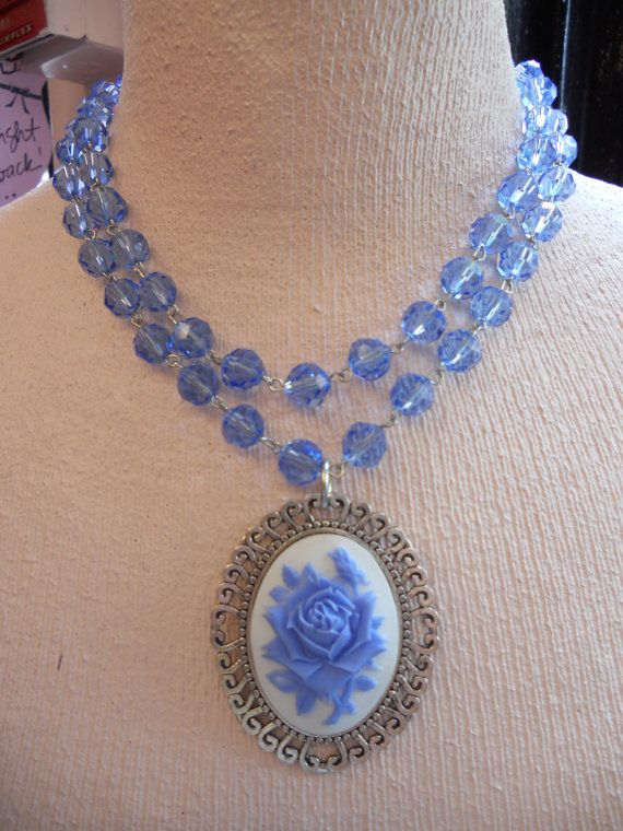 Periwinkle light sapphire BLUE CRYSTAL CAMEO by SiouxZanneMessix