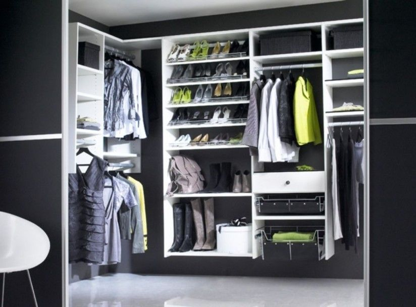 Closet Black Wall Paint Ideas Plus White Wooden Shelves Unit On Modern Walk In