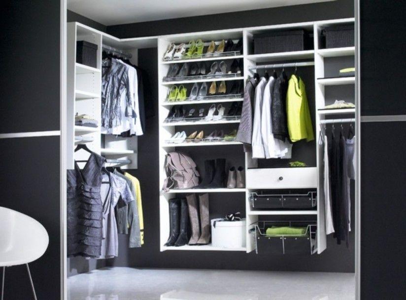 Closet Black Wall Paint Ideas Plus White Wooden Shelves Unit On