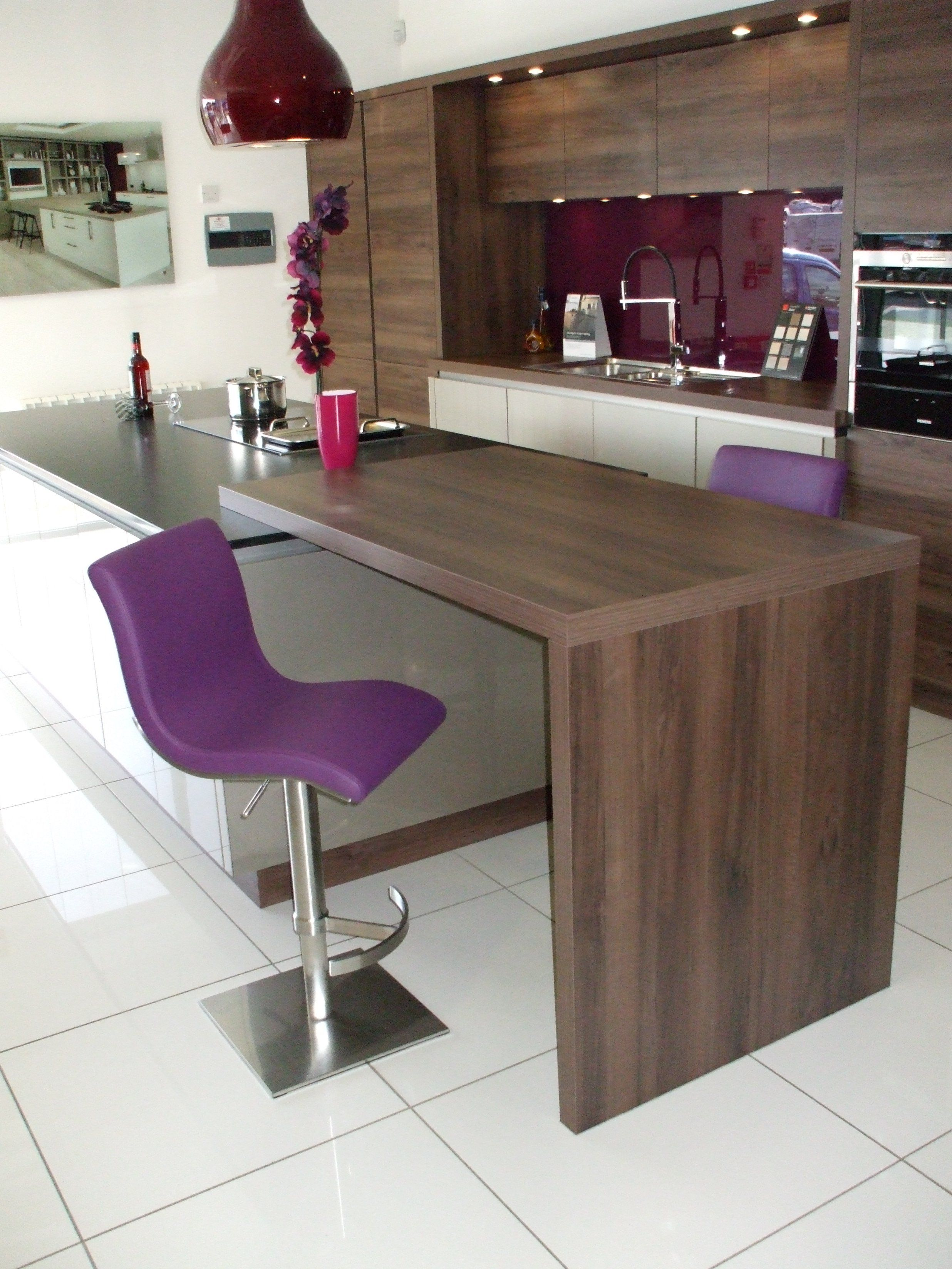 Steve Stools In Purple With Brushed Steel Bases Note The Gl Splashback