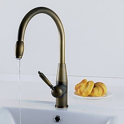 Retro Antique inspired Pull Down Kitchen Faucets Antique Brass