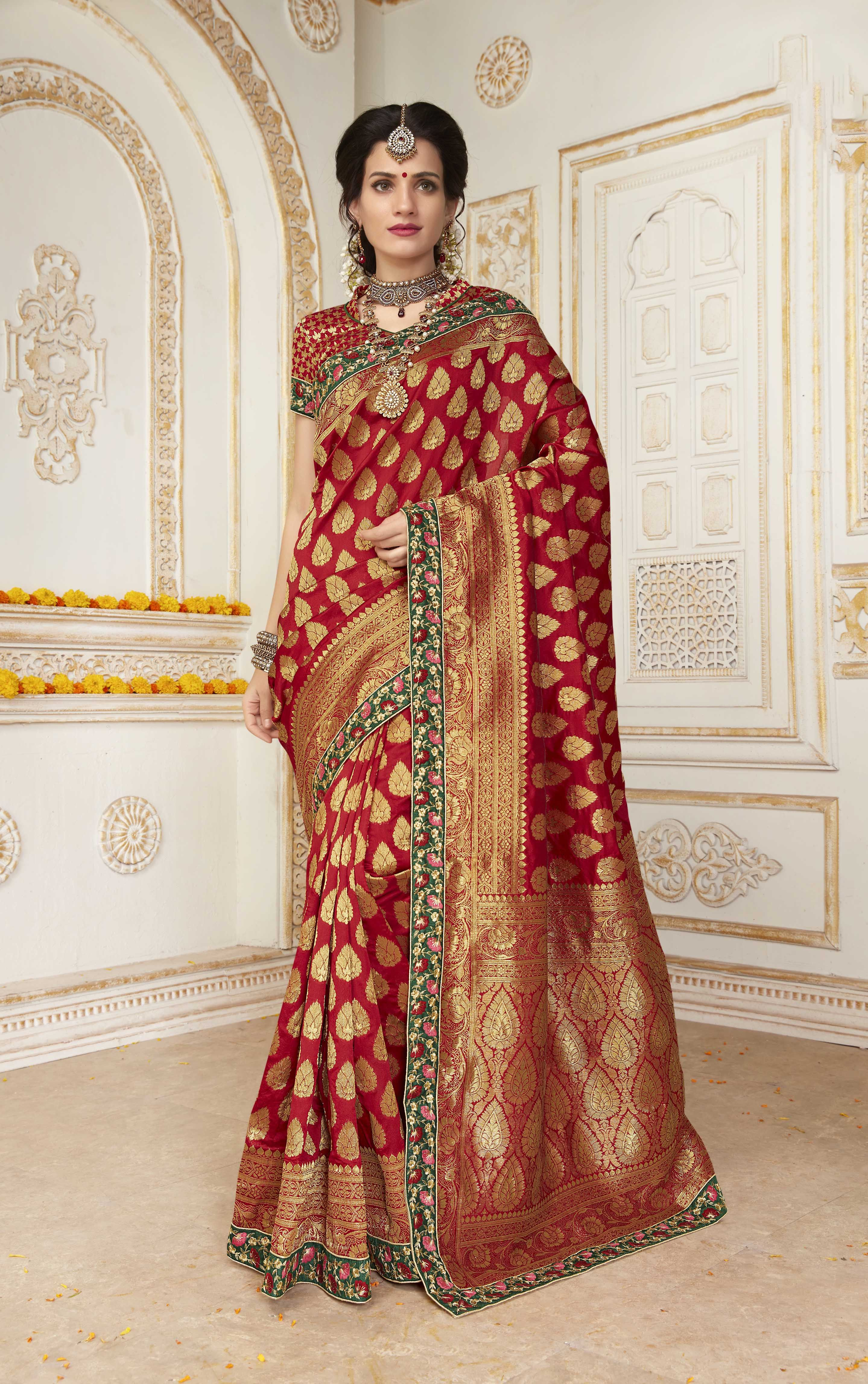 8792710e7930c Buy online Red colour Resham   Jari Embroidery With Stone Work designer  Traditional Silk saree at joshindia saree
