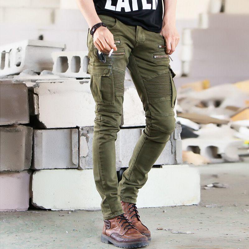 Biker Jeans Punk Style Cargo Pocket Jeans Skinny Men Famous Brand Mens  Designer Clothes Zipper Denim