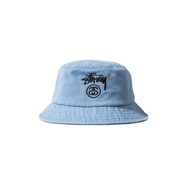 39fe87621244a Stussy Stock Lock Denim Bucket Hat ❤ liked on Polyvore featuring  accessories