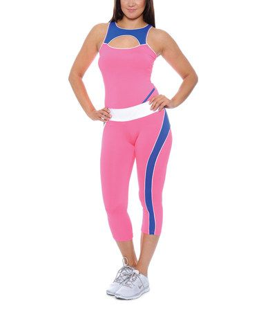 Love this Pink & Blue Cutout Tank & Capri Leggings on #zulily! #zulilyfinds