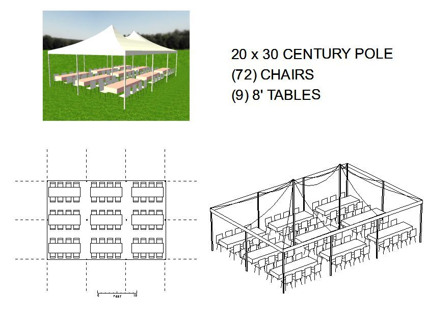 Captivating 20x30 Tent, 72 Chairs, 9 8u0027 Tables