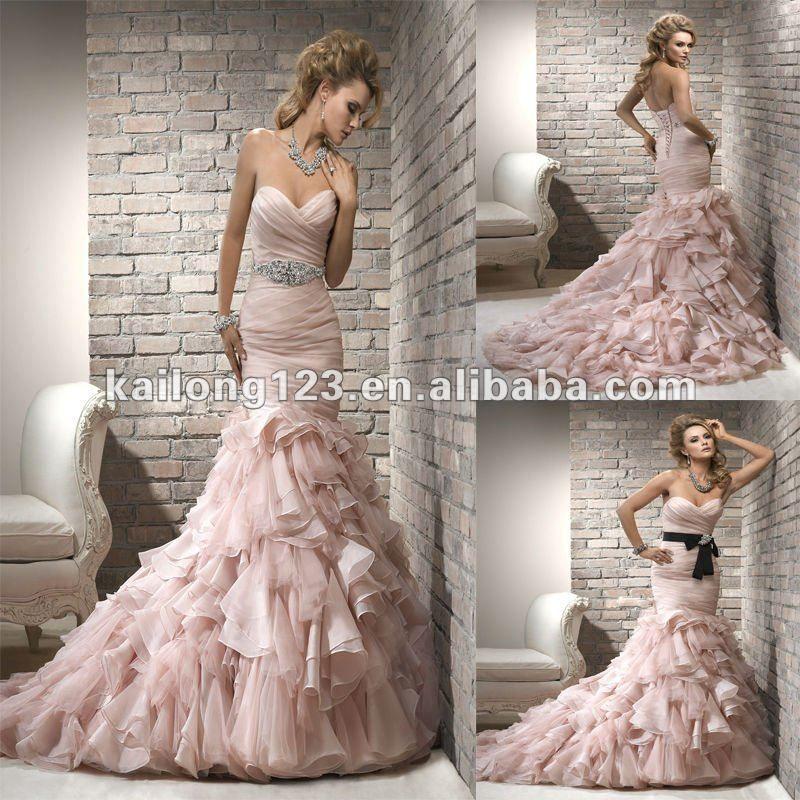 Elegant Sweetheart Mermaid Ruched Bodice Ruffled Skirt Blush Black Organza Corset Wedding Dress With Sash On