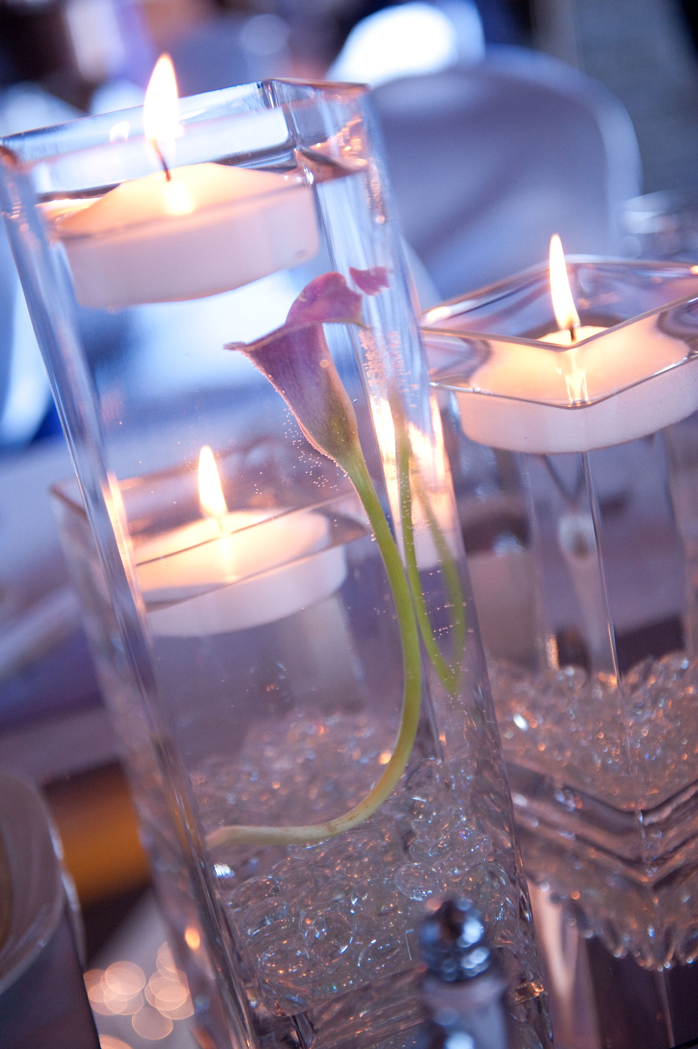 Beautiful Centerpieces At My Wedding Purple Lily With Floating Candle Simple Wedding Decorations Simple Christmas Decor Beautiful Candles