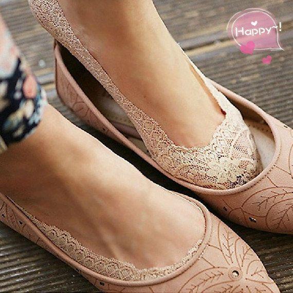 Flirty Lace Boat Socks,ENCHANTING LACE  Lace socks heels peep socks wedding shoes bridal footlets bridesmaids womens lace socks