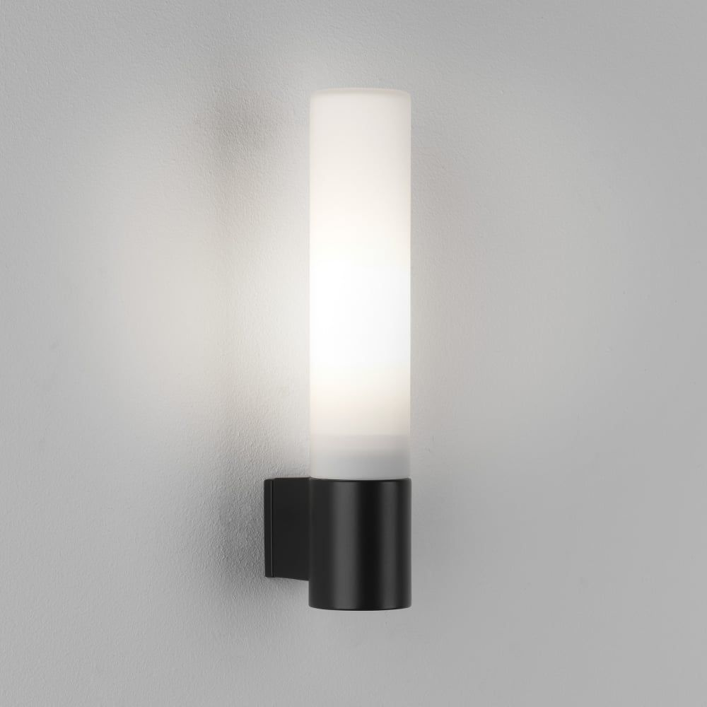 8037 Bari Ip44 Bathroom Wall Light In Black Black Bathroom Light Bathroom Wall Lights Wall Lights