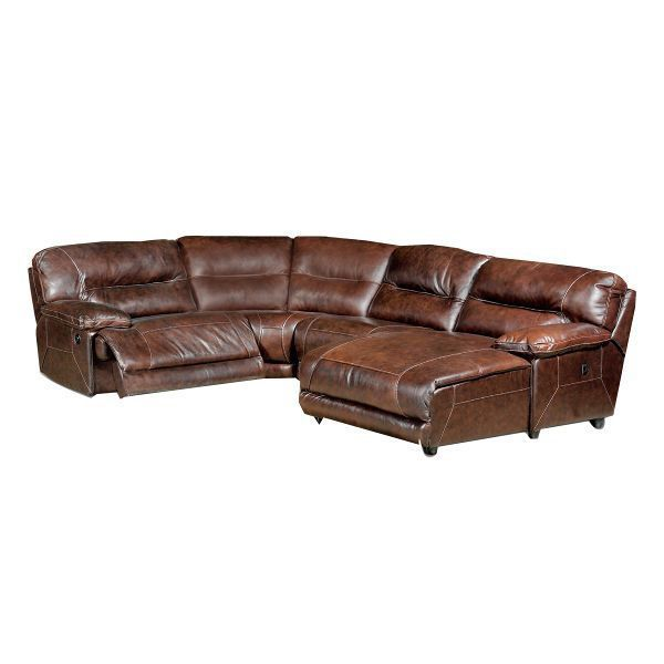 Dark Brown Leather Match 4 Piece Right Chaise Sectional Dylan In 2020 Dark Brown Leather Brown Leather Sectional