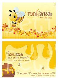 Resultado de imagem para convite cha de fraldas melissa abelha