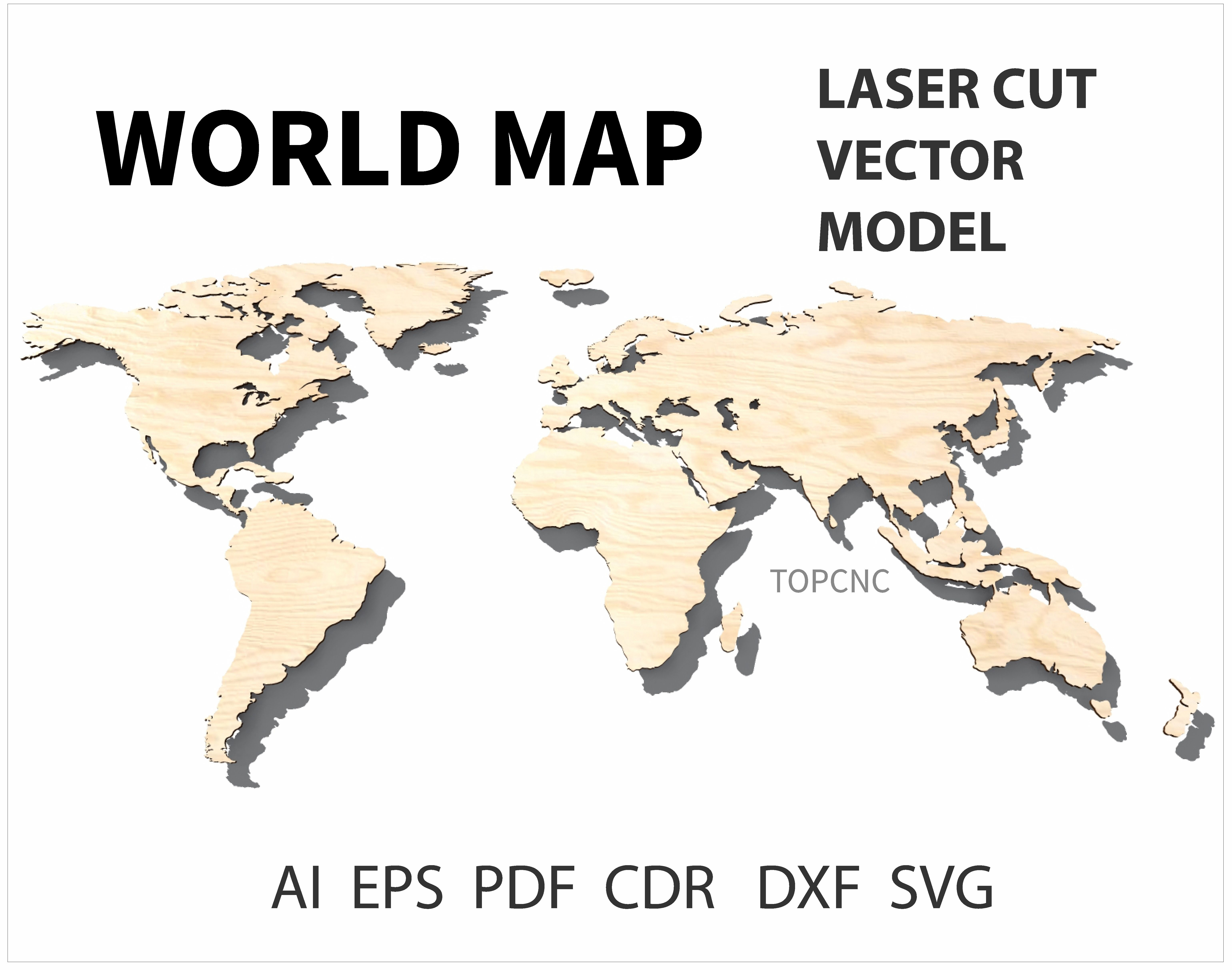 This is a digital file img0932jpg world map vector dxf world map laser cut file world map vector digital download svg png dxf gumiabroncs Images