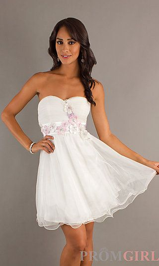 Short Strapless Sweetheart A-Line Dress at PromGirl.com