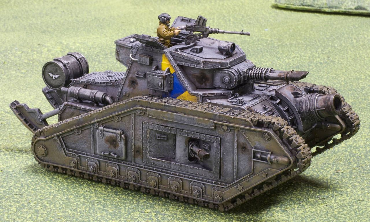 "Cadian Planetary Assault-Corps ""Malcador-Annihilator"" Breakthrough-Tank. Wargear: hull-casement/glacis TL-lascannon/demolisher-gun, pintle/sponson heavy-stubber & lascannons, trench-rails, extra fuel-tank."