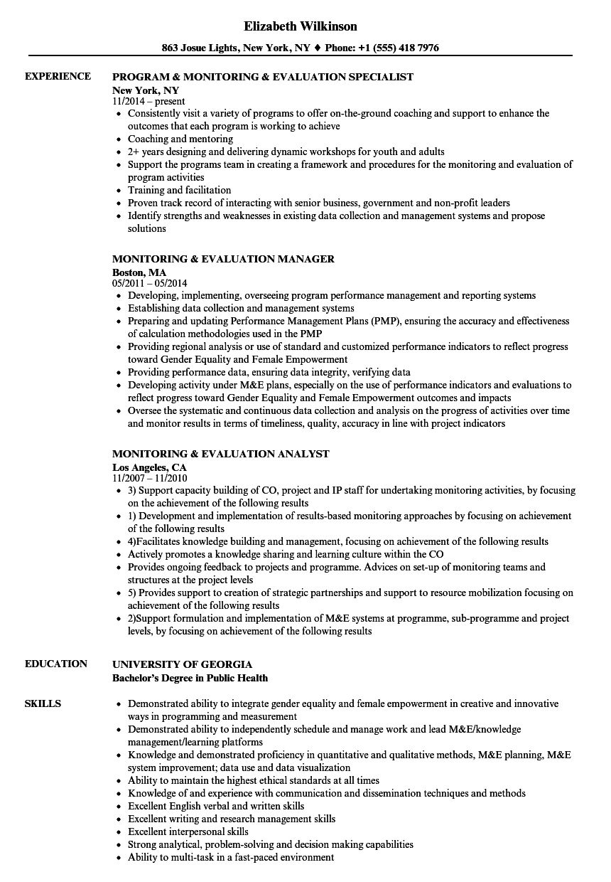Monitoring Evaluation Resume Samples Velvet Jobs With M E Report Template In 2020 Project Manager Resume Resume Examples Engineering Resume