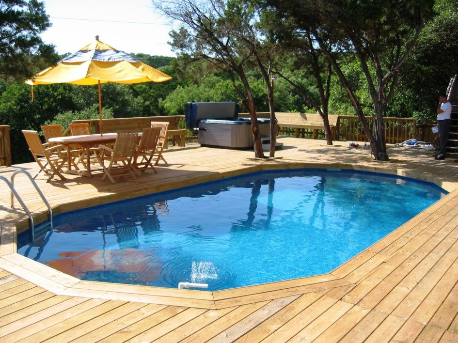 Wonderful Wood Deck Around Pools With Outdoor Jacuzzi Hot Tubs Also Oval Shaped Wooden Dining Tabl Decks Around Pools Backyard Pool Above Ground Swimming Pools