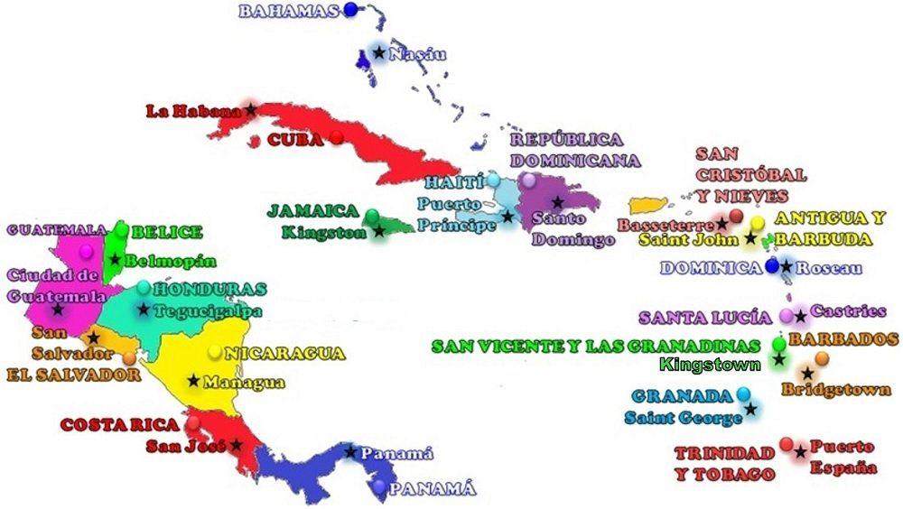 Paises Y Capitales De America Central Y Las Antillas Con Mapa