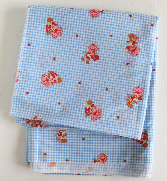 Vintage Strawberry Shortcake Fabric / 80 x 44 by ThirdHandShoppe
