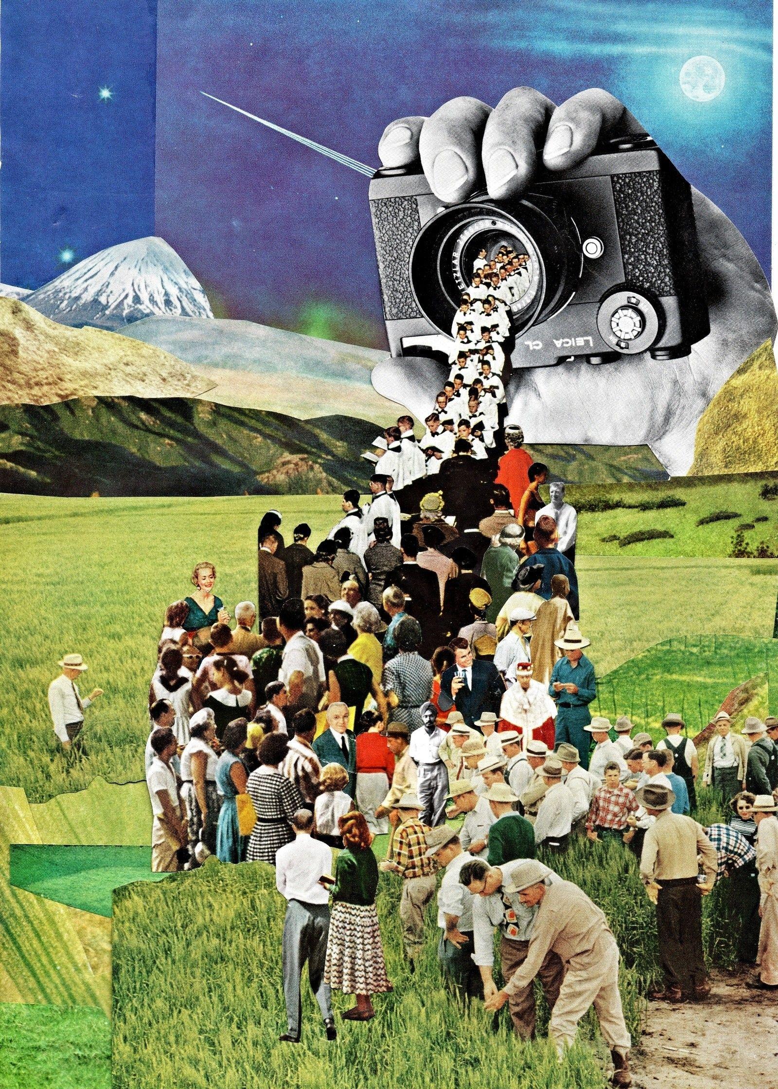 retro futuristic magazine collage art by ben giles collage