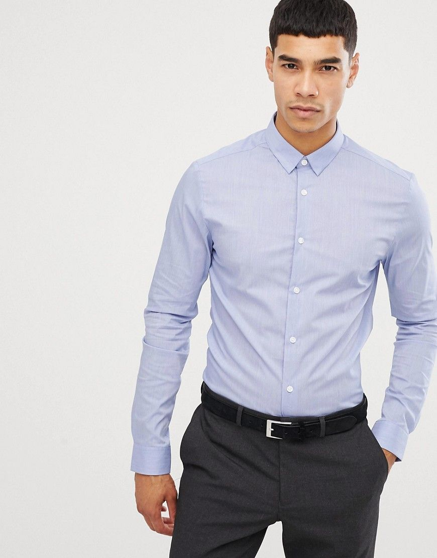 fe229898 NEW LOOK MUSCLE FIT POPLIN SHIRT IN LIGHT BLUE - BLUE. #newlook #cloth