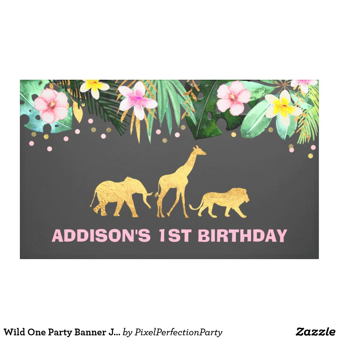 wild one party banner jungle animals party in 2018 happy