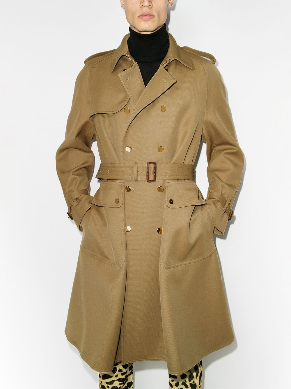 Gucci Double Breasted Trench Coat Farfetch Double Breasted Trench Coat Trench Coat Double Breasted Trench