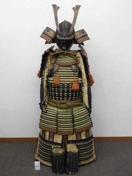 FINE Japanese SAMURAI Yoroi Armor KAWARI Maedate Kamon Kabuto Helmet Menpo SET