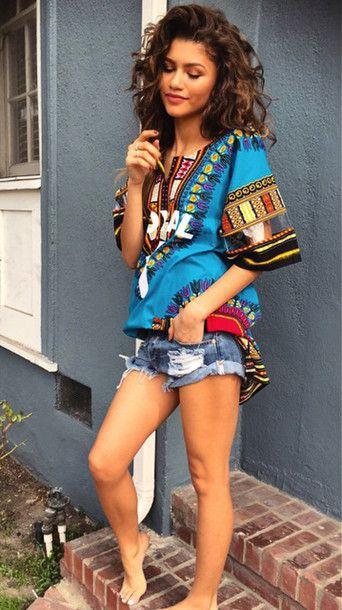Dashiki, colorful, african print | Zendaya style, African fashion ...