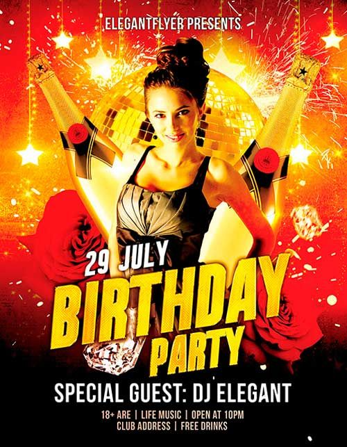 Free Birthday Party Psd Flyer Template  HttpFreepsdflyerCom