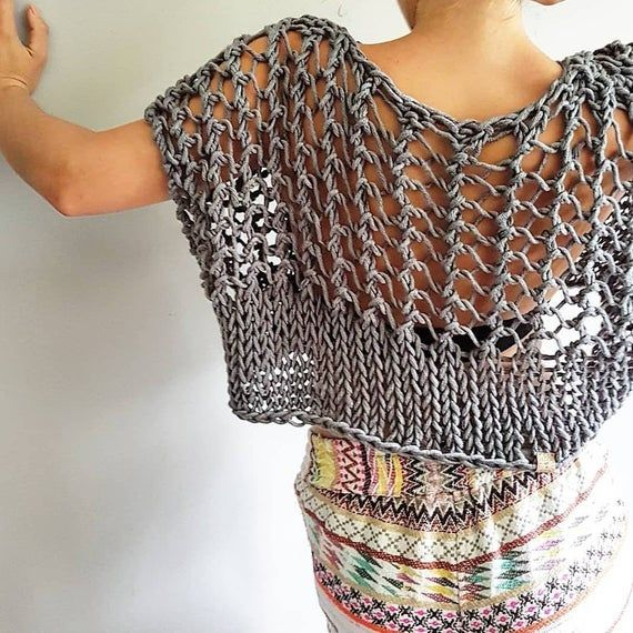 Knotty Crop Top Festival crop knit crop top knitted chunky   Etsy