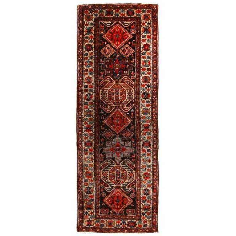 Antique Lankeran Red And Beige Wool Rug Scandinavian Rug Rugs Geometric Rug