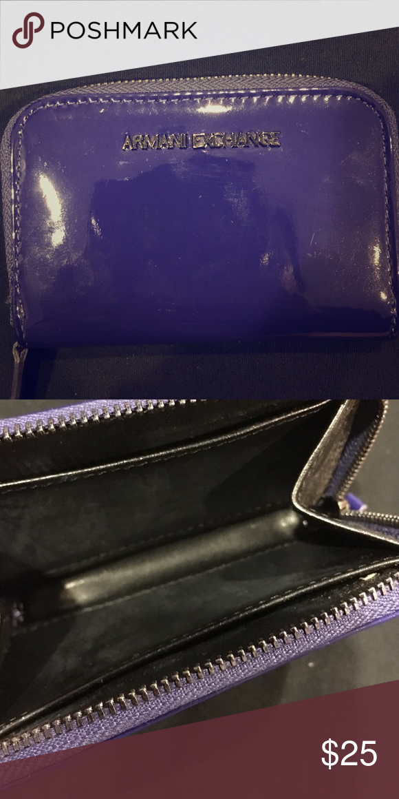 74d8ae835191 Armani Exchange Blue Wallet Coin Purse blue royal blue patent leather  Armani Exchange coin purse wallet. Great color and perfect for  cash ID credit cards.
