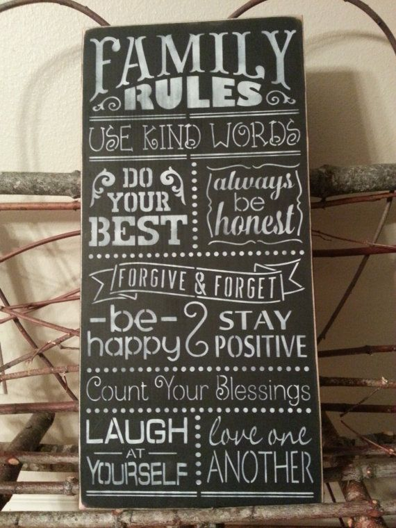 Wall Sign Decor Beauteous Family Rules Hand Painted Wall Decor Wood Signsimplegalz Review