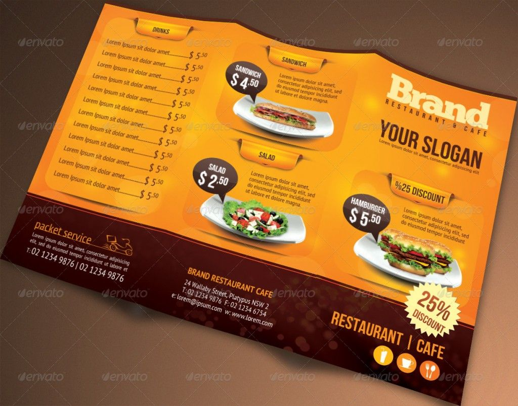 Trifold Brochure Restaurant Cafe Menu PSD Template Cosas Que - Food brochure templates