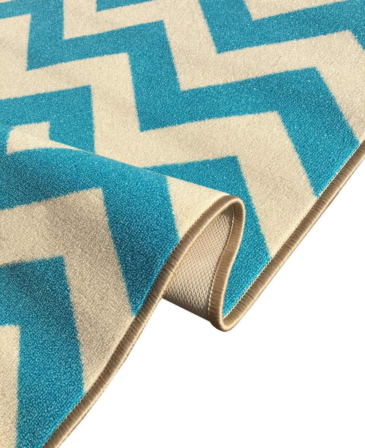 Best Kapaqua Custom Size Blue Chevron Zig Zag Rubber Backed Nonslip Hallway Stair Runner Rug Carpet 400 x 300