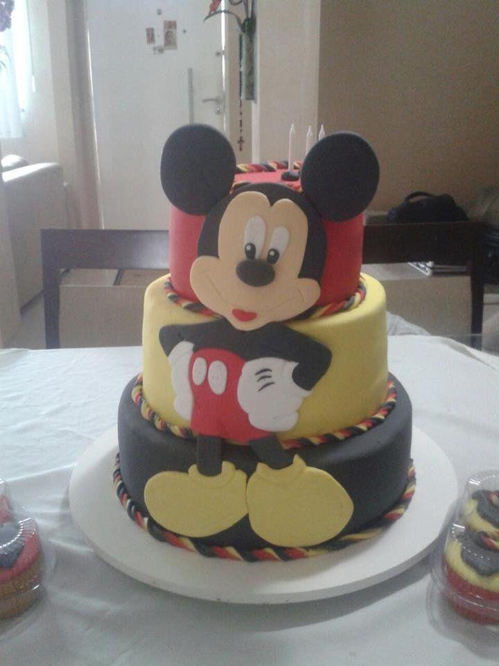 Bolo Mickey Mouse Em Tres Andares Preto Amarelo E Vermelho By