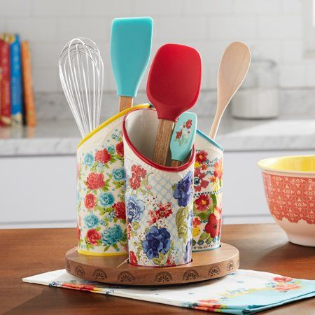 The Pioneer Woman Floral Medley 3-Compartment Utensil Holder - Walmart.com
