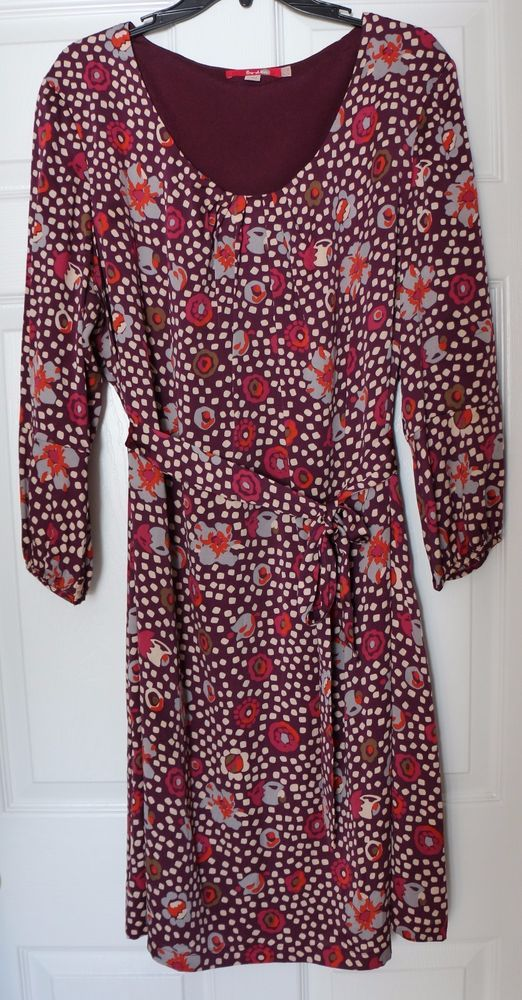 Women\'s BODEN Silk Dress Size 18 Long Tall US 18L Purple Floral 3/4 ...