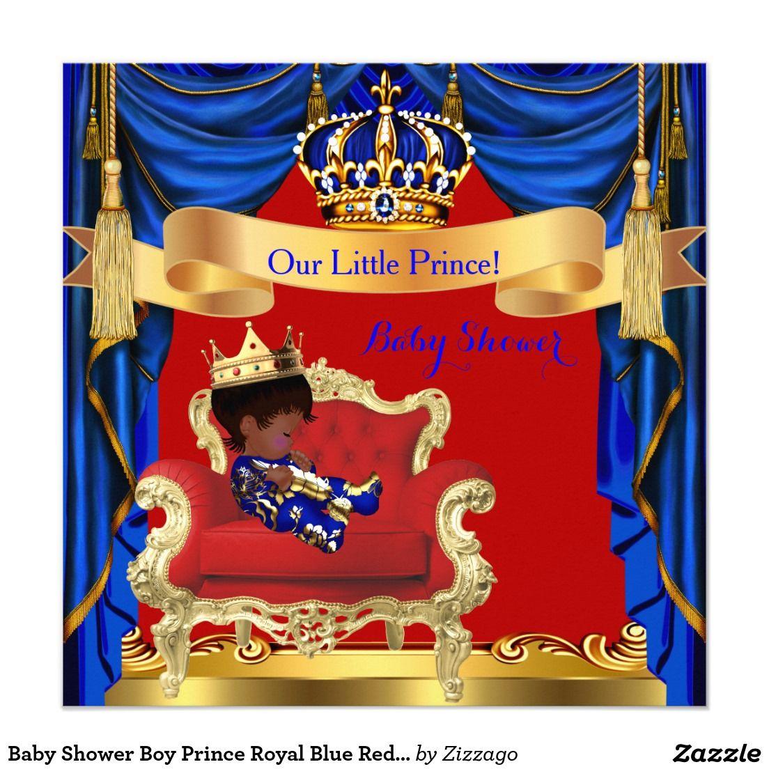 Baby Shower Boy Prince Royal Blue Red Ethnic Invitation   jelanie ...