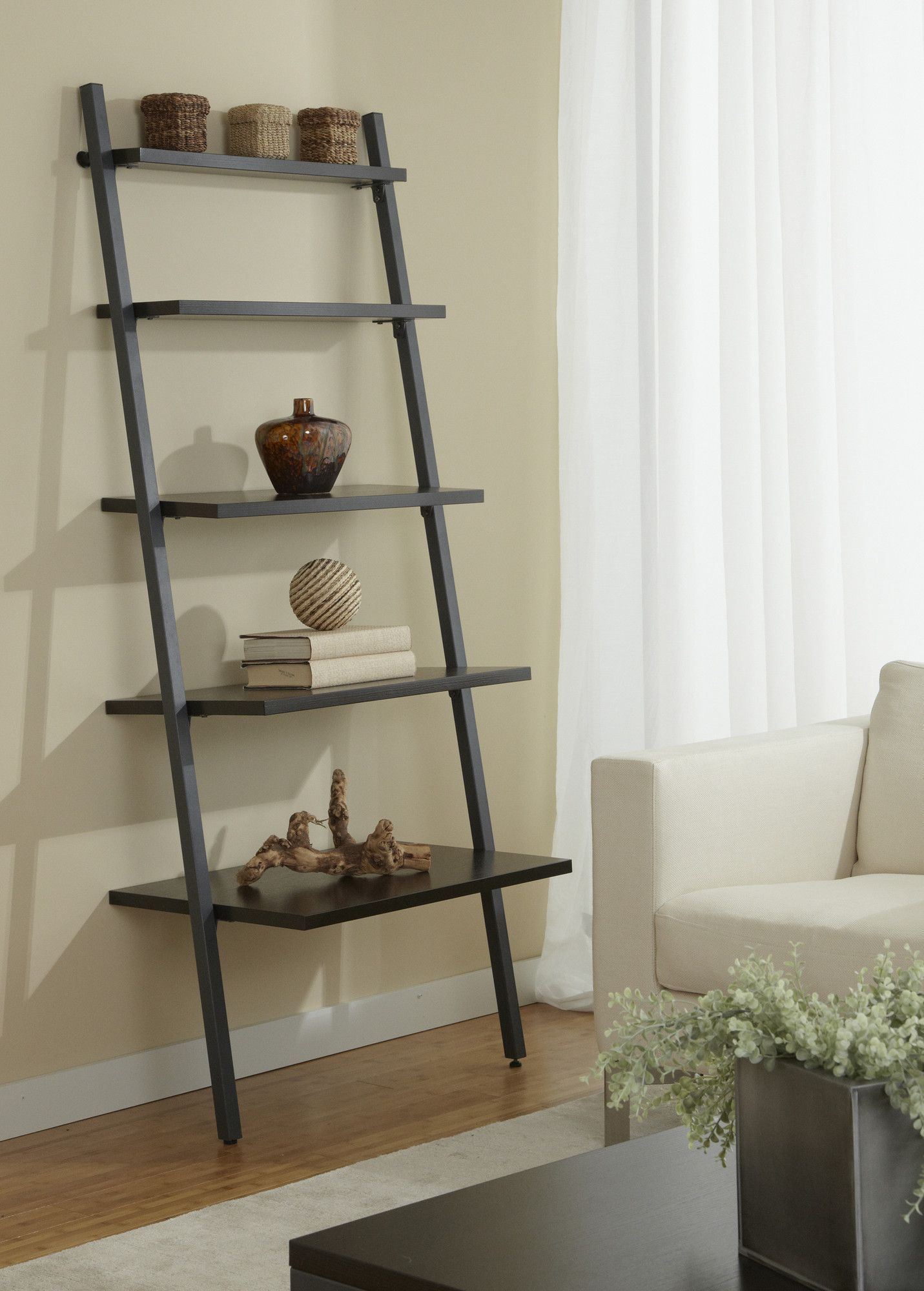mainstays leaning reviews ladder product bookcases shelf com espresso walmart bookcase