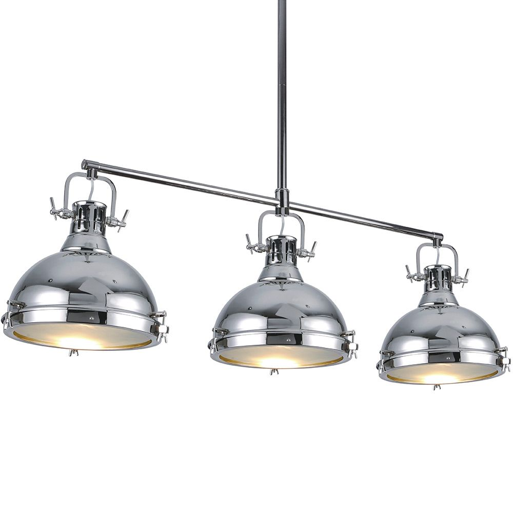Chandelier hanging chrome light fixture ceiling three for Island kitchen lighting fixtures