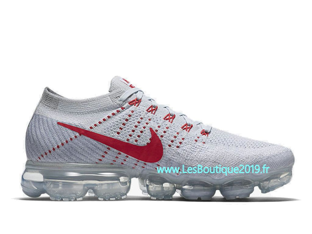 c56c4f8d990 Nike Air Vapormax Flyknit Pure Platinum Blanc Rouge Chaussure Nike 2018 Pas  Cher Pour Homme 849558