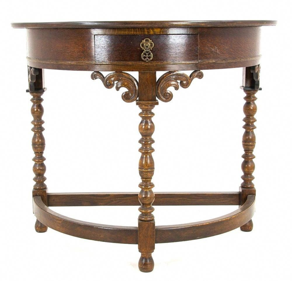 Carved Oak Hall Table Demilune Scotland 1920 Antique Furniture B1173 Antiquefurniturestyles