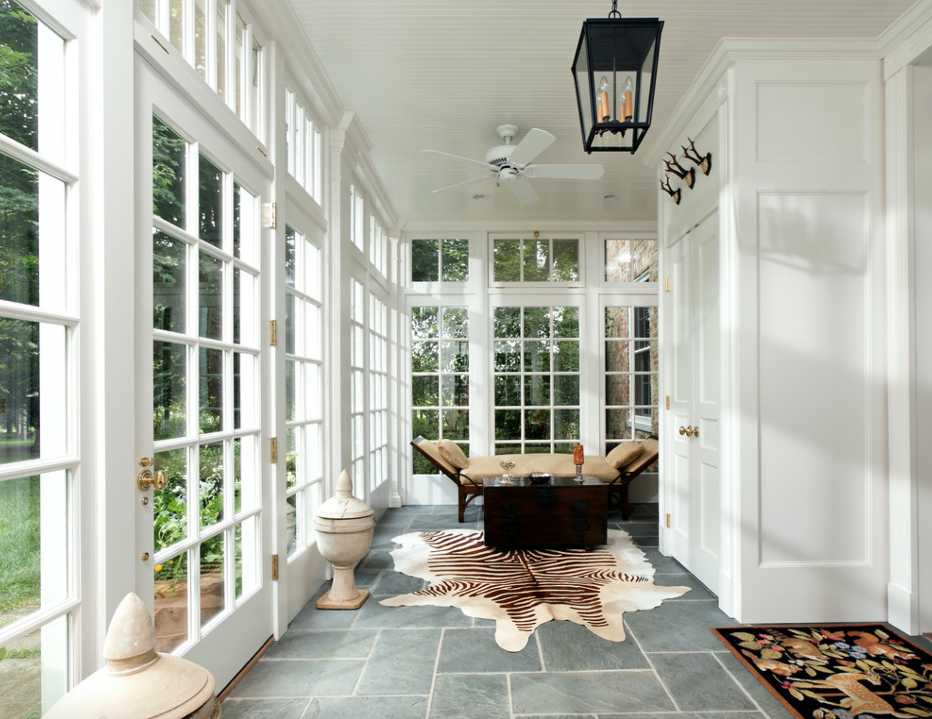 Bluestone tile glass windows hall house interior for Bluestone flooring interior