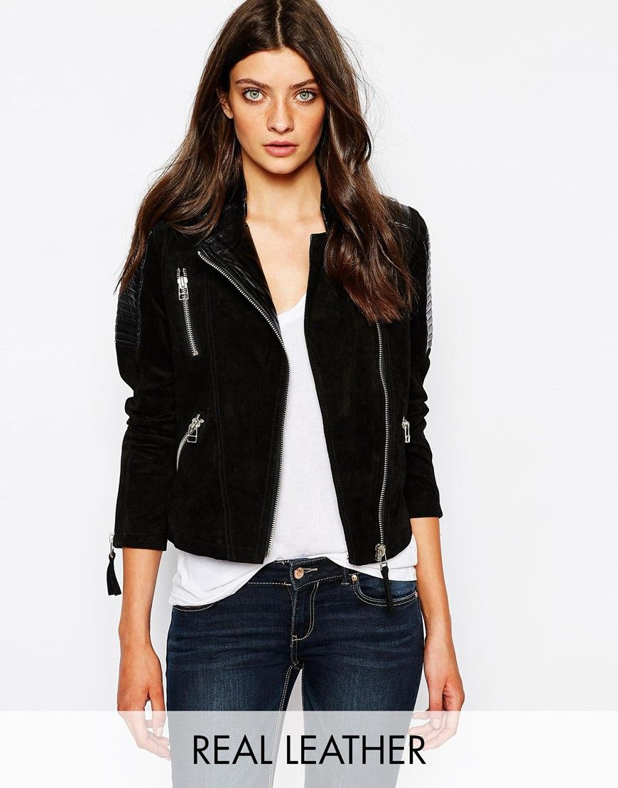 3fbbe3375fb Mango Biker Jacket With Contrast Quilted Leather Panels
